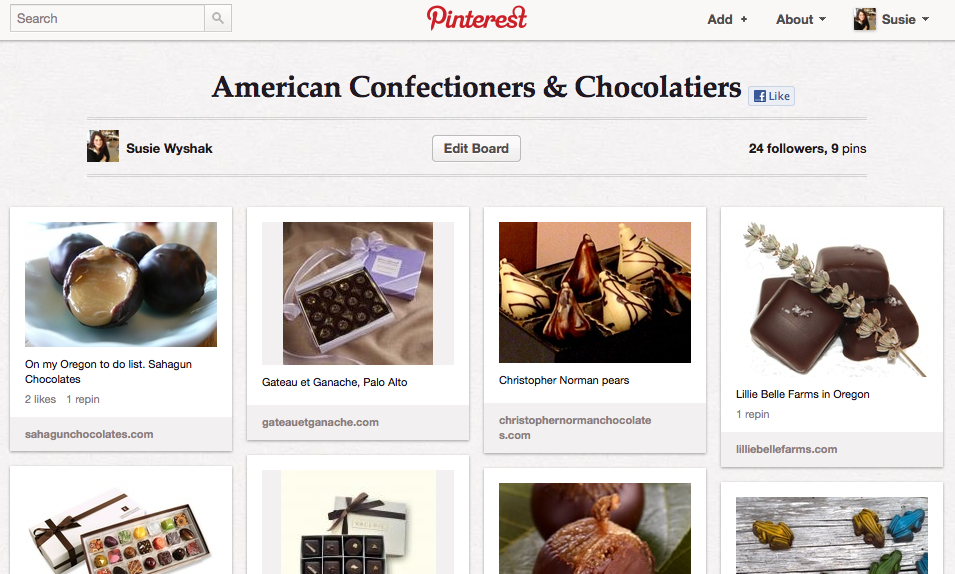 American chocolatiers and confectioners pin board on Pinterest