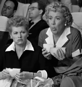 lucy and ethel eating cheese