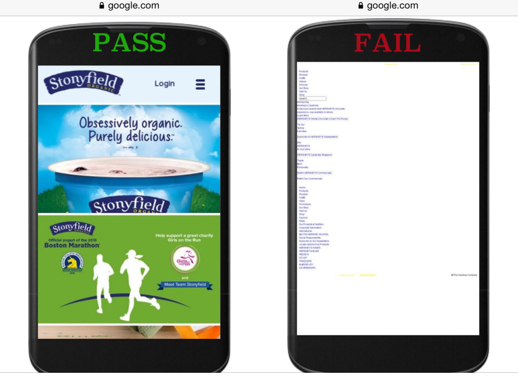 examples of mobile sites that pass and fail the friendly test
