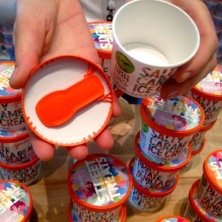 yogurt or instant soup cup with a built-in spoon