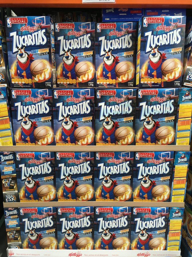 Tony the Tiger on Kellogg's cereal at costco Mexico